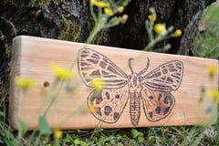 Silhouet van vlinder op hout stock afbeeldingen