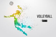 Silhouet van volleyballspeler Vector illustratie