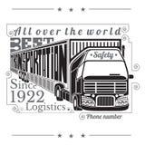 Silhouet van vrachtwagen met aanhangwagen en het van letters voorzien beste geïsoleerde vervoerslogistiek Royalty-vrije Stock Afbeelding