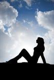 Silhouet van vrouw Stock Foto