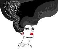 Silhouet van vrouw Stock Afbeelding