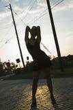 Silhouet van vrouw. stock afbeelding