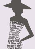 Silhouet van vrouw in kleding van woorden. Royalty-vrije Stock Foto's