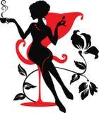 Silhouet van vrouw met een kop van koffie stock afbeelding