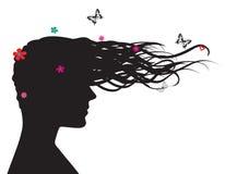 Silhouet van vrouw in profiel Stock Illustratie