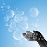 Silhouet van vrouwelijke handen met zeepbels royalty-vrije illustratie