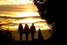 Silhouet van vrouwelijke vrienden Stock Foto's