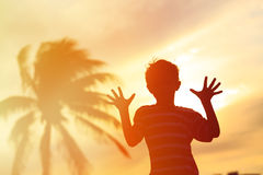 Silhouet van weinig jongensspel bij zonsondergangstrand Royalty-vrije Stock Foto's