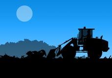 Silhouet van werkende bulldozer op achtergrond Royalty-vrije Stock Afbeelding