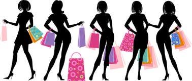 Silhouet van winkelend meisje vector illustratie
