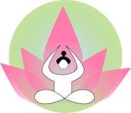Silhouet van yogapersoon stock illustratie