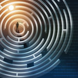 Silhouet van zakenman in labyrint stock illustratie