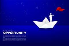 Silhouet van zakenman met vlag op document schip in de oceaan stock illustratie