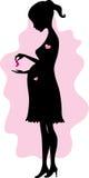 Silhouet van zwangere vrouw Stock Afbeeldingen