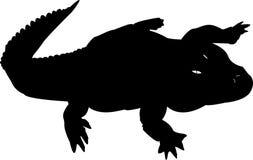 Silhouet van zwarte Krokodil Stock Foto