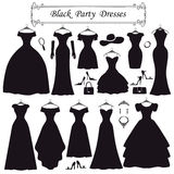 Silhouet van zwarte partijkleding Vlakke manier Stock Fotografie