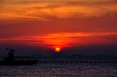 Silhouet vissersboot Royalty-vrije Stock Fotografie