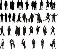 Silhouet - zwarte mensen Stock Foto