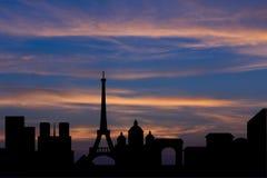 Silhouetachtergrond van de stadshorizon van Parijs Stock Foto's