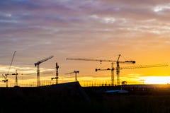 Silhouetbouwwerf Stock Afbeeldingen