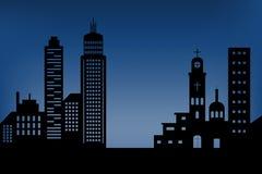 Silhouetcityscape het architecturale pictogram van de bouwwolkenkrabbers zwarte ontwerp vlakke stijl op blauwe diepe achtergrond  stock illustratie