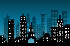 Silhouetcityscape het architecturale pictogram van de bouwwolkenkrabbers zwarte ontwerp vlakke stijl op blauwe diepe achtergrond  royalty-vrije illustratie