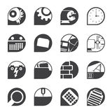 Silhouetcomputer, mobiele telefoon en Internet-pictogrammen Stock Foto