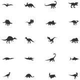 Silhouetdinosaurus en voorhistorische reptiel dierlijke pictogramreeks Stock Foto