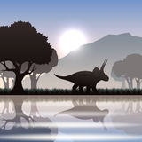 Silhouetdinosaurus in landschap stock illustratie