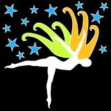 Silhouete dancing with wings and stars. A silhouette woman dancing with a pair of wings and stars on the sky. Freedom and creativity concept Royalty Free Stock Image