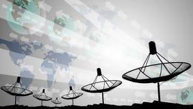 Silhouete der Satellitenschüssel mit grafischem Hintergrund Stockbilder