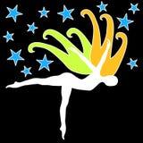 Silhouete die met vleugels en sterren dansen vector illustratie