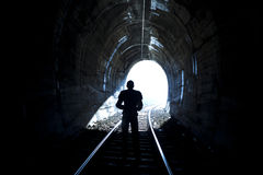 Silhouete at End of Tunnel Stock Photos