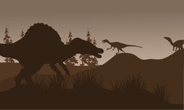 Silhouete of spinosaurus and eoraptor in hills Stock Photos