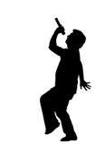 Silhouetfoto van zanger met microfoon, geluk Stock Afbeelding