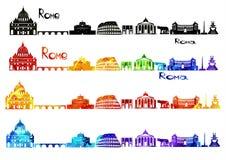 Silhouetgezichten van Rome in b-w en in waterverf Royalty-vrije Stock Afbeelding