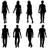 Silhouetgroep die Mensen zich op Witte Achtergrond bevinden royalty-vrije illustratie