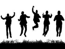 Silhouetgroep mensen die in kostuums springen Stock Afbeelding