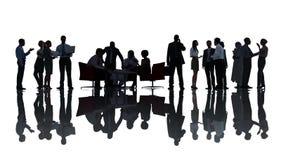 Silhouetgroep Mensen in Vergadering royalty-vrije stock afbeelding