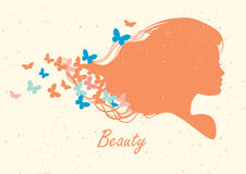 Silhouethoofd met haar en vlinder Vector illustratie Stock Afbeelding