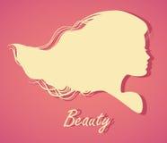 Silhouethoofd met haar Vectorillustratie van vrouwenschoonheid sa Royalty-vrije Stock Foto