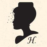 Silhouethoofd met hoed en sluier Vectorillustratie van vrouw B Royalty-vrije Stock Foto's