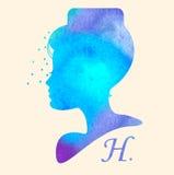 Silhouethoofd met waterverfhaar Vectorillustratie van de salon van de vrouwenschoonheid Royalty-vrije Stock Afbeelding