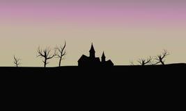Silhouethuis op gebieden Royalty-vrije Stock Afbeeldingen