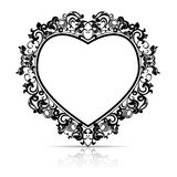 Silhouetkader in de vorm van hart voor beeld of foto vector illustratie