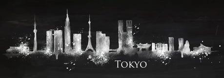 Silhouetkrijt Tokyo stock illustratie
