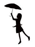 Silhouetmeisje met paraplu Editablelagen royalty-vrije stock afbeelding