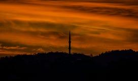 Silhouetmening van Moskee in Samsun Stock Fotografie