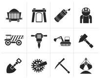 Silhouetmijnbouw en mijnbouwvoorwerpen en pictogrammen Stock Afbeelding