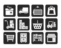 Silhouetopslag, vervoer, lading en verschepende pictogrammen Stock Foto